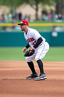 Indianapolis Indians first baseman Patrick Kivlehan (47) during an International League game against the Columbus Clippers on April 30, 2019 at Victory Field in Indianapolis, Indiana. Columbus defeated Indianapolis 7-6. (Zachary Lucy/Four Seam Images)