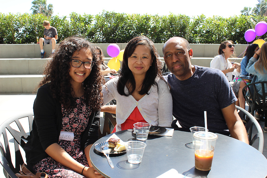 Daven McQueen and her parents, Gina and Lloyd, pose for a picture at a welcome event for accepted undergraduate students at Emerson Los Angeles on March 29, 2105.