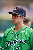 Gwinnett Stripers Sean Kazmar Jr. (4) during a game against the Columbus Clippers on May 17, 2018 at Huntington Park in Columbus, Ohio.  Gwinnett defeated Columbus 6-0.  (Mike Janes/Four Seam Images)