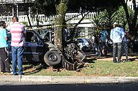 SAO PAULO, SP, 03.04.2015 - ACIDENTE AUTOMOVEL - Um automóvel colidiu com uma arvóre na Av Vereador Abel Ferreira, o condutor do automóvel entrou em óbito no local, no bairro da Vila Formosa na região leste de São Paulo nesta sexta-feira, (03). (Foto: Marcos Moraes / Brazil Photo Press).