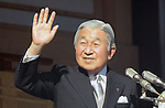 January 2, 3014, Tokyo, Japan - Japan's Emperor Akihito waves to thousands of flag-waving well-wishers from the Imperial Palace balcony during a general audience in Tokyo on Thursday, January 2, 2014. More than 80,000 well-wishers turned out to celebrate the coming of the new year with the imprerial family who made five appearances on the palace balcony.  (Photo by Kaku Kurita/AFLO) FYJ -mis-
