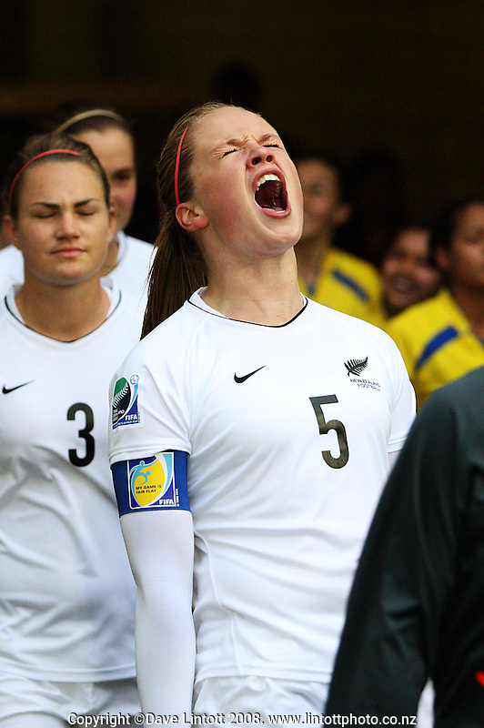 NZ captain Bri Fisher screams encouragement as she leads her team onto the field during the FIFA Women's Under-17 World Cup pool match between New Zealand and Columbia at Westpac Stadium, Wellington, New Zealand on Tuesday, 4 November 2008. Photo: Dave Lintott / lintottphoto.co.nz