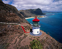 Makapuu Lighthouse, Aerial View, Oahu, Hawaii, USA.