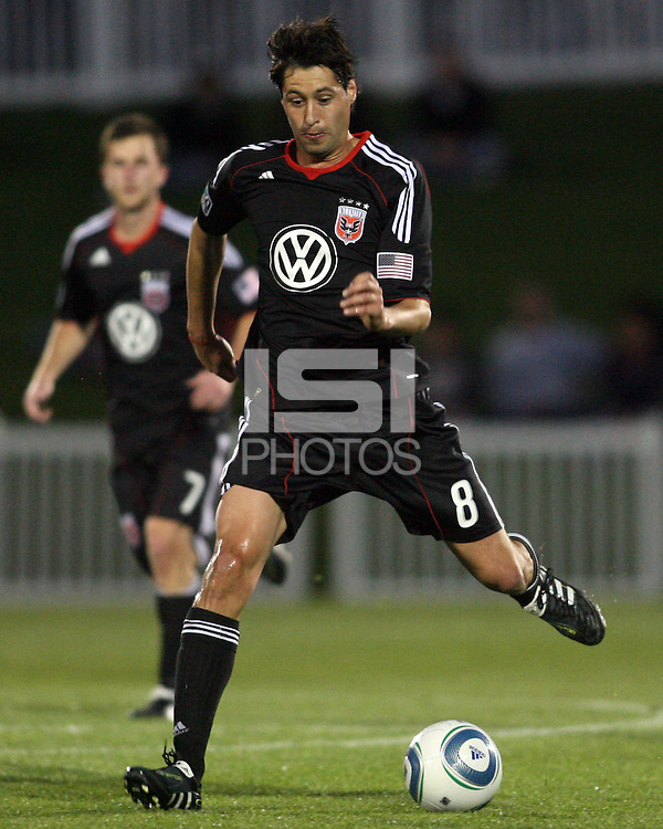 Branko Boskovic(8) of D.C. United makes a pass  during a play-in game for the US Open Cup tournament against the Philadelphia Union at Maryland Sportsplex, in Boyds, Maryland on April 6 2011. D.C. United won 3-2 after overtime penalty kicks.