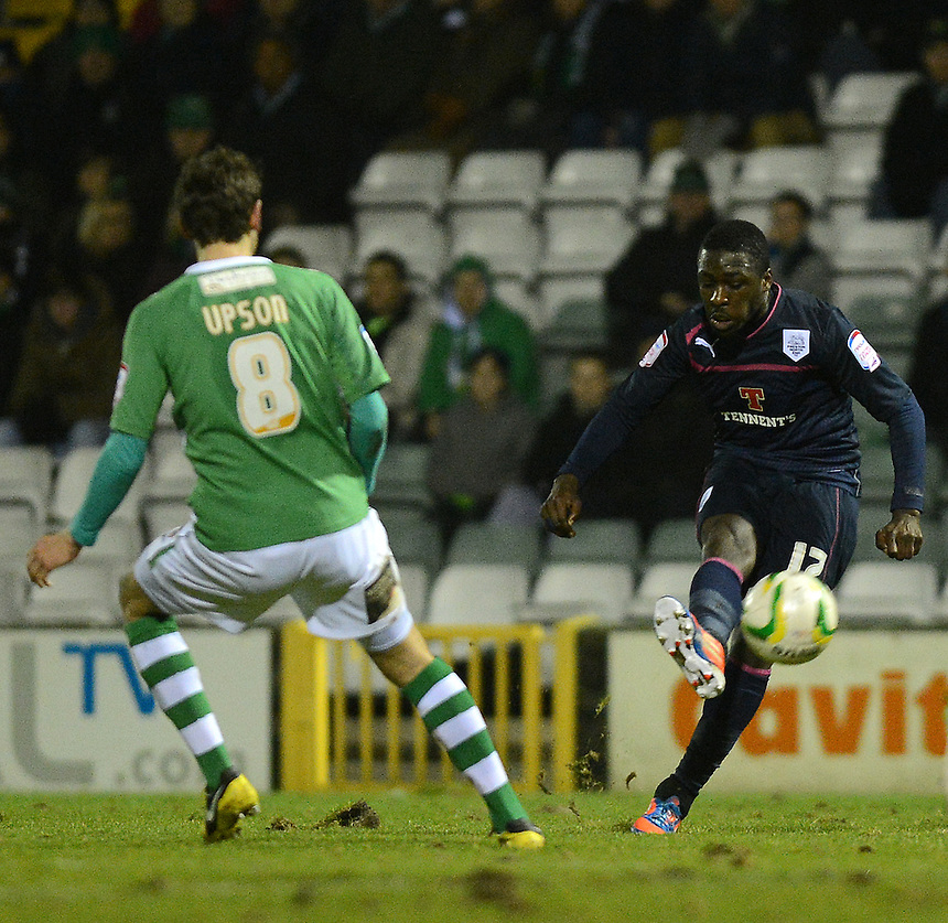 Preston North End's Jeffrey Monakana has a shot at goal..Football - npower Football League Division One - Yeovil Town v Preston North End - Tuesday 12 th 2013 - Huish Park - Yeovil..© CameraSport - 43 Linden Ave. Countesthorpe. Leicester. England. LE8 5PG - Tel: +44 (0) 116 277 4147 - admin@camerasport.com - www.camerasport.com