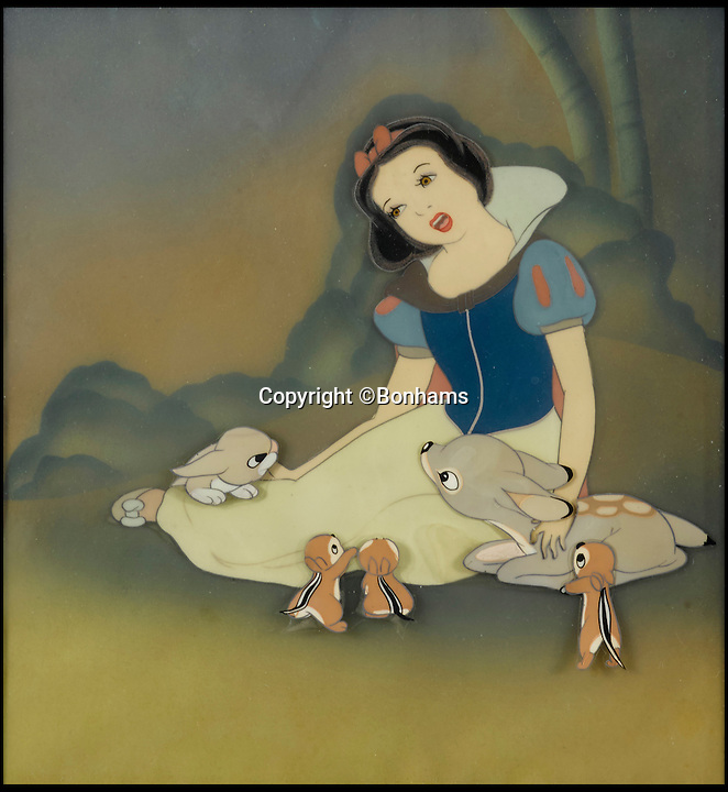 BNPS.co.uk (01202 558833)<br /> Pic: Bonhams/BNPS<br /> <br /> A celluloid which shows Snow White with her animal friends sold for &pound;4,374.<br /> <br /> The sale of original art work from Snow White has revealed that dwarfs dubiously named Tubby, Baldy and Deafy only just missed out on making the final cut.<br /> <br /> The offensively-named trio were considered by the famous producer of animated films in the run up to the classic 1937 movie.<br /> <br /> Now 32 pieces of Snow White art work, including sketches of the dwarfs which were withdrawn from production, have come to light to reveal the dubious names which would be considered very un-PC today.