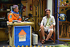 Latitude Festival, Henham Park, Suffolk, UK July 2019. Jon Spooner of Unlimited Space Agency in The Space Shed interviewing Rupert Read of Extinction Rebellion