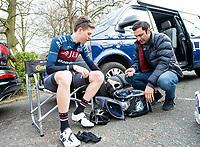 Picture by Allan McKenzie/SWpix.com - 15/04/18 - Cycling - HSBC UK British Cycling Spring Cup Road Series - Chorley Grand Prix 2018 - Chorley, England - JLT Condor, Edward Laverack looks through kit.