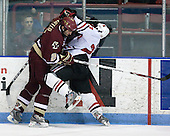 Anthony Aiello (BC - 2), Chris Donovan (NU - 23) - The visiting Boston College Eagles defeated the Northeastern University Huskies 4-1 on NU's senior night, Saturday, March 8, 2008, at Matthews Arena in Boston, Massachusetts.