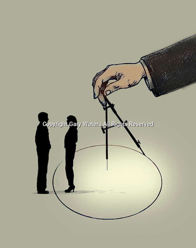 Hand drawing circle separating man and woman