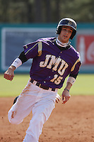 James Madison University outfielder Johnny Bladel running the bases during a game against the Boston College Eagles at Watson Stadium at Vrooman Field on February 18, 2012 in Conway, SC.  Boston College defeated James Madison 8-5.  (Robert Gurganus/Four Seam Images)