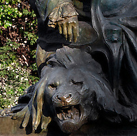 Detail of the statue of Georges-Louis Leclerc, comte de Buffon, created by Jean Carlus (1852-1930) in 1902, showing a lion's head and located in the Jardin des Plantes, Paris, 5th arrondissement, France. Founded in 1626 by Guy de La Brosse, Louis XIII's physician, the Jardin des Plantes, originally known as the Jardin du Roi, opened to the public in 1640. It became the Museum National d'Histoire Naturelle in 1793 during the French Revolution. Picture by Manuel Cohen