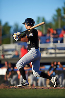 West Virginia Black Bears designated hitter Chris Harvey (10) at bat during a game against the Batavia Muckdogs on June 30, 2016 at Dwyer Stadium in Batavia, New York.  Batavia defeated West Virginia 4-3.  (Mike Janes/Four Seam Images)