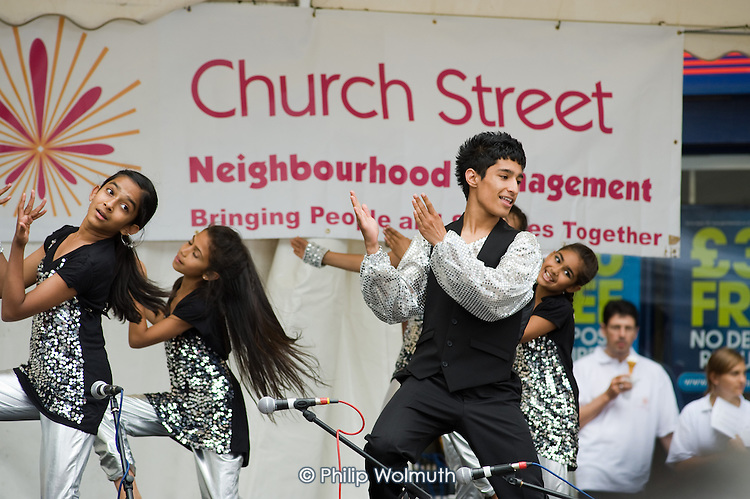 Dance group perform at Church Street Summer Festival 2009, organised by Church Street Neighbourhood Forum.