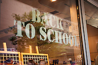 A back to school window display is seen on a store in New York on Monday, August 25, 2014. New York schools open their doors on September 4. (© Richard B. Levine)