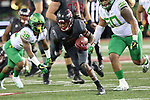Tavares Martin Jr. (8), Washington State wide receiver, looks for running room during the Cougars Pac-12 Conference game against the Oregon Ducks on October 1, 2016.   The Cougs defeated the Ducks at Martin Stadium, 51-33.