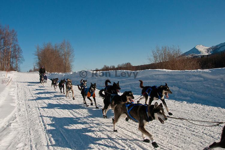Norwegian musher Magnus Kaltenborn and his dog team approach Takotna checkpoint along Iditarod trail, 2011, Alaska