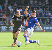 Lincoln City's Harry Anderson vies for possession with Carlisle United's Macaulay Gillesphey<br /> <br /> Photographer Chris Vaughan/CameraSport<br /> <br /> The EFL Sky Bet League Two - Carlisle United v Lincoln City - Friday 19th April 2019 - Brunton Park - Carlisle<br /> <br /> World Copyright © 2019 CameraSport. All rights reserved. 43 Linden Ave. Countesthorpe. Leicester. England. LE8 5PG - Tel: +44 (0) 116 277 4147 - admin@camerasport.com - www.camerasport.com
