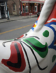"A view of ""Dala Horse"" created by, Jacqueline L. Vought, seen on Partition Street, one of the ""Rockin' Around Saugerties"" theme Statues on display throughout the Village of Saugerties, NY, on Friday, June 9, 2017. Photo by Jim Peppler. Copyright/Jim Peppler-2017."