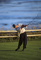 Tiger Woods uses irons off the 16th tee during the 2000 US OPEN GOLF held at Pebble Beach. Tiger went on to win the Open on Sunday.