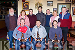 Glenbeigh multiple All Ireland winning handballers front row l-r: John Joe Quirke, Dominick Lynch and Jack O'Shea were honoured in the Red Fox Inn Glenbeigh on Tuesday night back row l-r: Eoin Riordan, Mary Naughton, Christy Moriarty, Tim Mulvihill, Joh Mulvihill, Maura Sweeney, and Pat Donovan