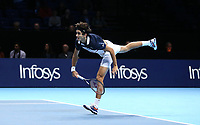 Pierre-Hughes Herbert in action with partner Nicolas Mahu against Jack Sock and Mike Bryan in their doubles Final match today<br /> <br /> Photographer Rob Newell/CameraSport<br /> <br /> International Tennis - Nitto ATP World Tour Finals Day 8 - O2 Arena - London - Sunday 18th November 2018<br /> <br /> World Copyright &copy; 2018 CameraSport. All rights reserved. 43 Linden Ave. Countesthorpe. Leicester. England. LE8 5PG - Tel: +44 (0) 116 277 4147 - admin@camerasport.com - www.camerasport.com