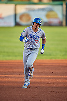 Romer Cuadrado (17) of the Ogden Raptors rounds the bases after hitting a grand slam against the Orem Owlz at Home of the Owlz on September 11, 2017 in Orem, Utah. Ogden defeated Orem 7-3 to win the South Division Championship. (Stephen Smith/Four Seam Images)