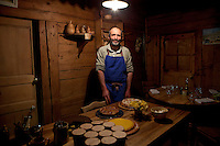 Proprietor and chef Albert Bonamy poses for the photographer at his restaurant La Ferme de Lormay, Le Grand Bornand, France, 15 February 2012.