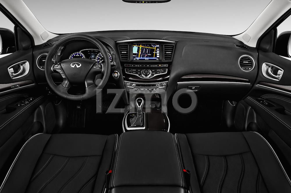 Stock photo of straight dashboard view of 2017 Infiniti QX60 Hybrid 5 Door SUV Dashboard