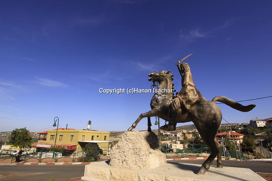 Israel, Upper Galilee, statue of Sultan el-Atrash in the Druze village Hurfeish