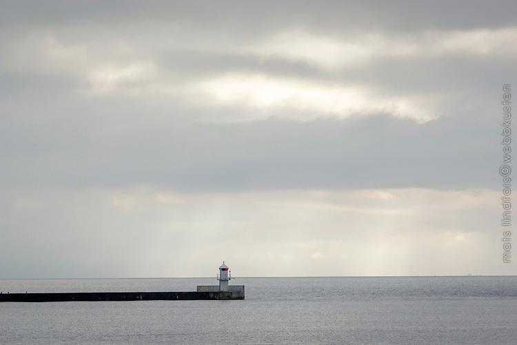 Fyr vid havet vid Höllviken i Skåne