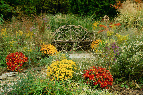 Handmade Grapevine Bench In Intimate Nich Of Fall Garden With Birdhouse And  Blooming Flowers Including Mums. »