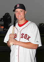 Lowell Spinners infielder Kolbrin Vitek (3) poses for a photo in a Boston Red Sox uniform during a rain delay at Falcon Park in Auburn, New York August 9, 2010.  Vitek was selected in the 2010 MLB Draft by the Red Sox in the 1st round (20th overall) out of Ball State.  The game between the Lowell Spinners and Auburn Doubledays was cancelled due to rain.  Photo By Mike Janes/Four Seam Images