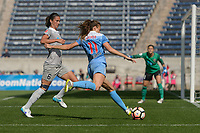Bridgeview, IL - Saturday May 27, 2017: Abby Erceg, Sofia Huerta during a regular season National Women's Soccer League (NWSL) match between the Chicago Red Stars and the North Carolina Courage at Toyota Park. The Red Stars won 3-2.