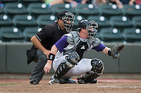 Winston-Salem Dash catcher Zack Collins (30) sets a target as home plate umpire Zach Tieche looks on during the game against the Potomac Nationals at BB&T Ballpark on July 15, 2016 in Winston-Salem, North Carolina.  (Brian Westerholt/Four Seam Images)