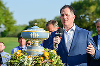 Michael Dell, CEO of Dell Technologies speaks following round 7 of the World Golf Championships, Dell Technologies Match Play, Austin Country Club, Austin, Texas, USA. 3/26/2017.<br /> Picture: Golffile | Ken Murray<br /> <br /> <br /> All photo usage must carry mandatory copyright credit (&copy; Golffile | Ken Murray)