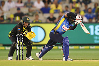 1st November 2019; Melbourne Cricket Ground, Melbourne, Victoria, Australia; International T20 Cricket, Australia versus Sri Lanka; Bhanuka Rajapaksa of Sri Lanka drives the ball forward - Editorial Use