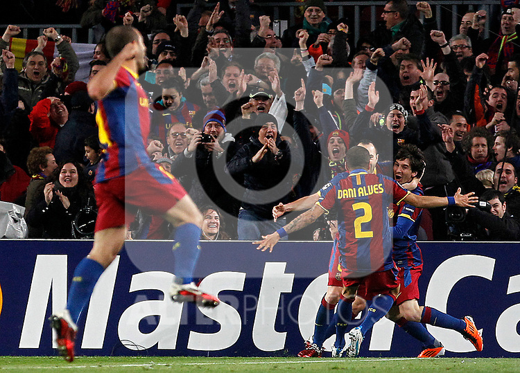 FC Barcelona's Javier Mascherano, Daniel Alves, Andres Iniesta and Leo Messi celebrate goal during UEFA Champions League match.March 8,2011. (ALTERPHOTOS/Acero)