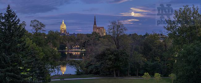 Sept. 27, 2015; Moonrise over the campus skyline. (Photo by Matt Cashore/University of Notre Dame)