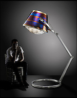 BNPS.co.UK (01202 558833)<br /> Pic: FallenFurniture/BNPS<br /> <br /> 7ft tall lamp - made from BAe 146 enging exhaust.<br /> <br /> Aircraft scrap turn's into creative furniture.<br /> <br /> A British company has hit upon the unique idea of turning scrapped aircraft into stunning items of furniture.<br /> <br /> Fallen Furniture take's the wheels, engines, wings and even bomb housings from old aeroplanes and turn's them into highly polished 'statement peices' for contempary homes and office's.<br /> <br /> Director Ben Tucker says, 'Aircraft are made of the ultimate materials to an exacting standard, and its a pleasure to give these beautiful items a second life as bespoke furniture.'