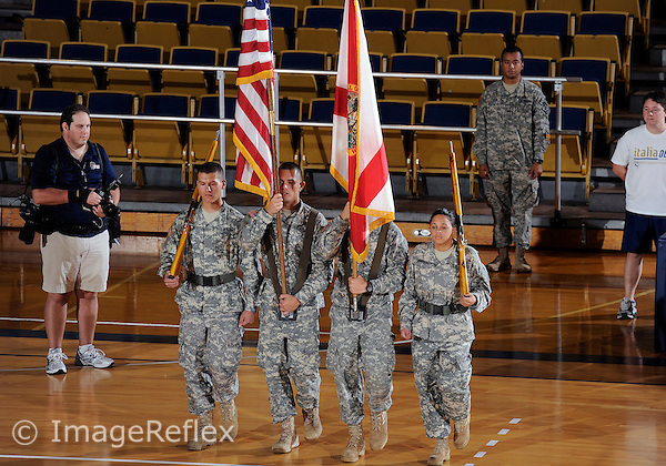 Florida International University ROTC unit before the game between the women's volleyball team against Florida A&M University.  FIU won the match 3-0 on September 11, 2011 at Miami, Florida. .