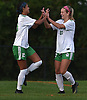 Allison Kiernan #23 of Farmingdale, right, gets congratulated by teammate Sydney Moore #15 after scoring a goal to break a 1-1 tie with Baldwin late in the first half of a Nassau County Conference AA-1 varsity girls soccer game at Baldwin High School on Wednesday, Oct. 17, 2018. Farmingdale went on to win by a score of 3-1.
