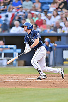 Asheville Tourists third baseman Taylor Snyder (28) swings at a pitch during a game against the Greenville Drive at McCormick Field on April 15, 2017 in Asheville, North Carolina. The Tourists defeated the Drive 5-4. (Tony Farlow/Four Seam Images)