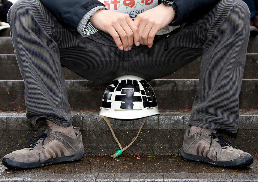 A helmet belonging to a student activist with Zengakren (All Japan Federation of Students' Autonomous Body) at a demo march outside Hosei university, Ichigaya, Tokyo, Japan Friday April 23rd 2010