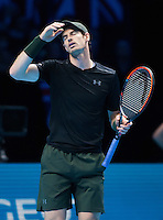 Andy Murray (GBR) shows his frustration during the ATP World tour final against Novak Djokovic (SRB), ATP World Tour Finals 2016, Day Eight, O2 Arena, Peninsula Square, London, United Kingdom, 20th Nov 2016