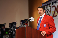 Preki Radosavljevic gives his acceptance speech during the induction ceremony for the National Soccer Hall of Fame at the New Meadowlands Stadium in East Rutherford, NJ, on August 10, 2010.