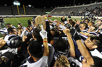 NWA Democrat-Gazette/ANDY SHUPE<br /> Fayetteville players celebrate their 28-7 win over Har-Ber Saturday, Dec. 5, 2015, the Class 7A state championship game at War Memorial Stadium in Little Rock. Visit nwadg.com/photos to see more photographs from the game.
