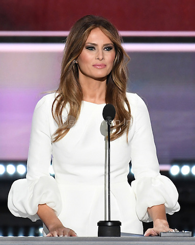 Melania Trump makes remarks at the 2016 Republican National Convention held at the Quicken Loans Arena in Cleveland, Ohio on Monday, July 18, 2016.<br /> Credit: Ron Sachs / CNP/MediaPunch<br /> (RESTRICTION: NO New York or New Jersey Newspapers or newspapers within a 75 mile radius of New York City)
