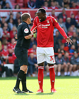 Nottingham Forest's Albert Adomah argues with the referee<br /> <br /> Photographer David Shipman/CameraSport<br /> <br /> The EFL Sky Bet Championship - Nottingham Forest v Preston North End - Saturday 31st August 2019 - The City Ground - Nottingham<br /> <br /> World Copyright © 2019 CameraSport. All rights reserved. 43 Linden Ave. Countesthorpe. Leicester. England. LE8 5PG - Tel: +44 (0) 116 277 4147 - admin@camerasport.com - www.camerasport.com