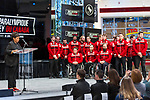 TORONTO, ON - FEBRUARY 11: Communications Coordinator of Hockey Canada, Esther Madziya, speaks to attendees as Hockey CanadaHockey Canada reveals the players and coaching staff who will represent Team Canada in Men's Sledge Hockey at the upcoming Paralympic 2018 Winter Games in PyeongChang, South Korea on February 11, 2018 in the Atrium at the Canadian Broadcasting Corporation building in Toronto, Canada. (Photo by Adam Pulicicchio/Hockey Canada)